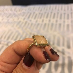 Blush pink and gold statement ring